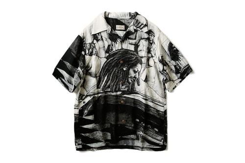 KAPITAL Drops Artful Black & White Silk Hawaiian Shirt