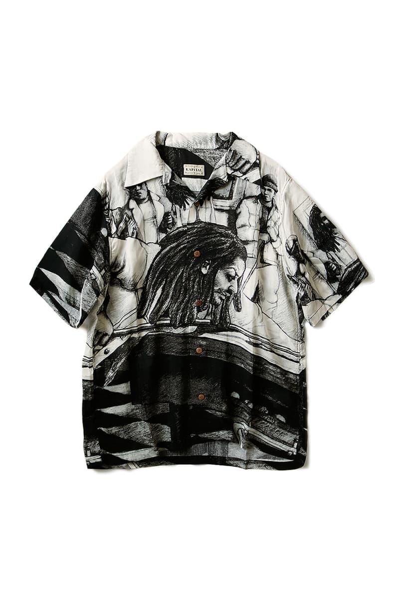 KAPITAL Black White Silk Hawaiian Shirt aloha hustler menswear streetwear monochromatic spring summer 2020 collection short sleeve button up kapital kountry kiro hirata japanese