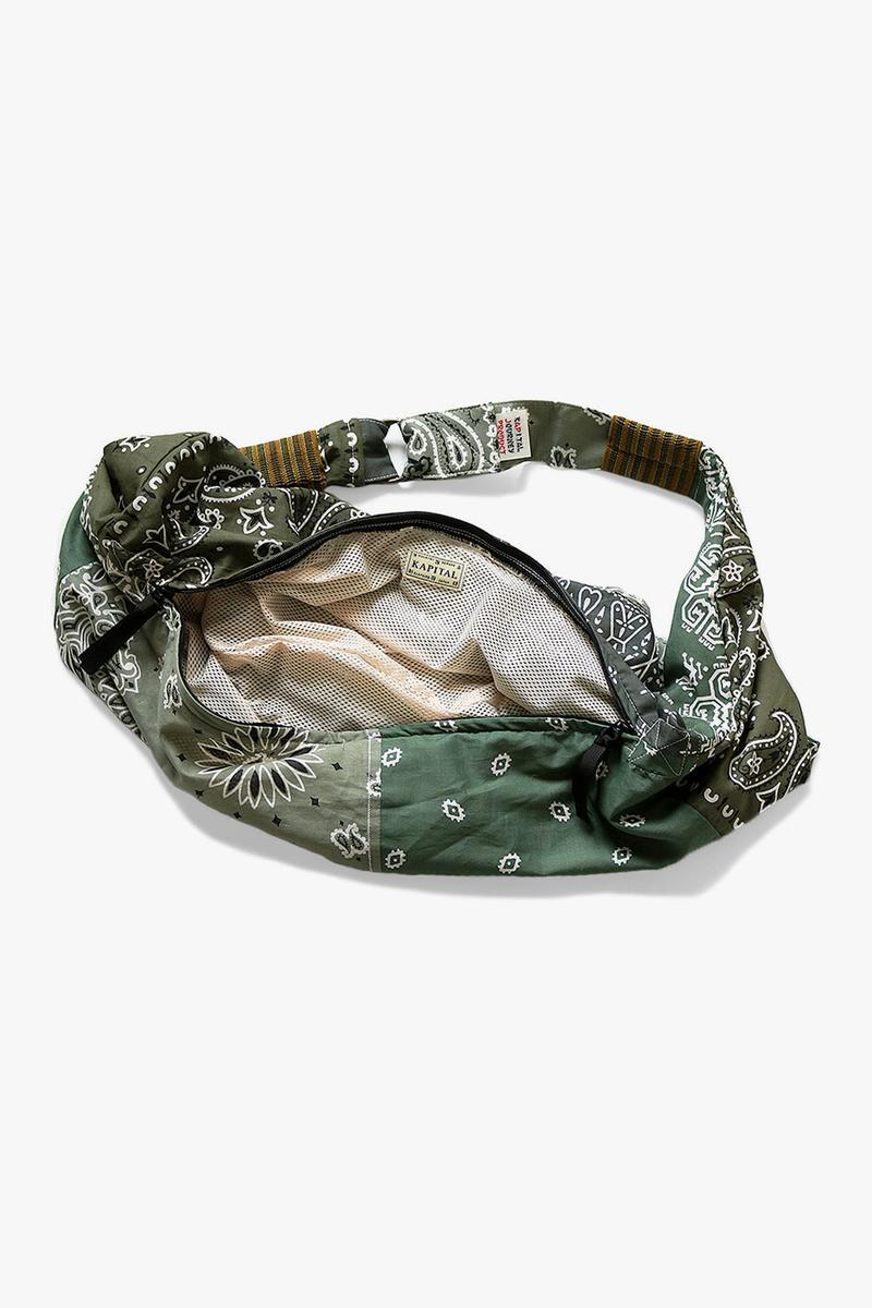 KAPITAL vintage gauze bandana beach bum bag drop release navy purple black yellow saxophone light blue green khaki