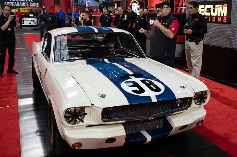 "Ken Miles' 1965 Shelby GT350R Competition Model 5R002 First-Ever Mustang Raced Winner First Place Classic American Muscle Car Mecum Auctions V8 'Ford v. Ferrari' ""Flying Mustang"" Dana Mecum's 33rd Original Spring Classic John Atzbach Collection"
