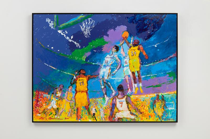 "LeRoy Neiman 'Knicks vs Lakers' Over the Influence Gallery Hong Kong Kobe Bryant Painting Basketball ""Rise and Shine"""