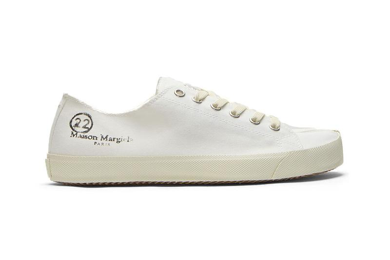 maison margiela tabi low top canvas sneakers in white ss20 camel toe cleft toe silhouette rubber sole