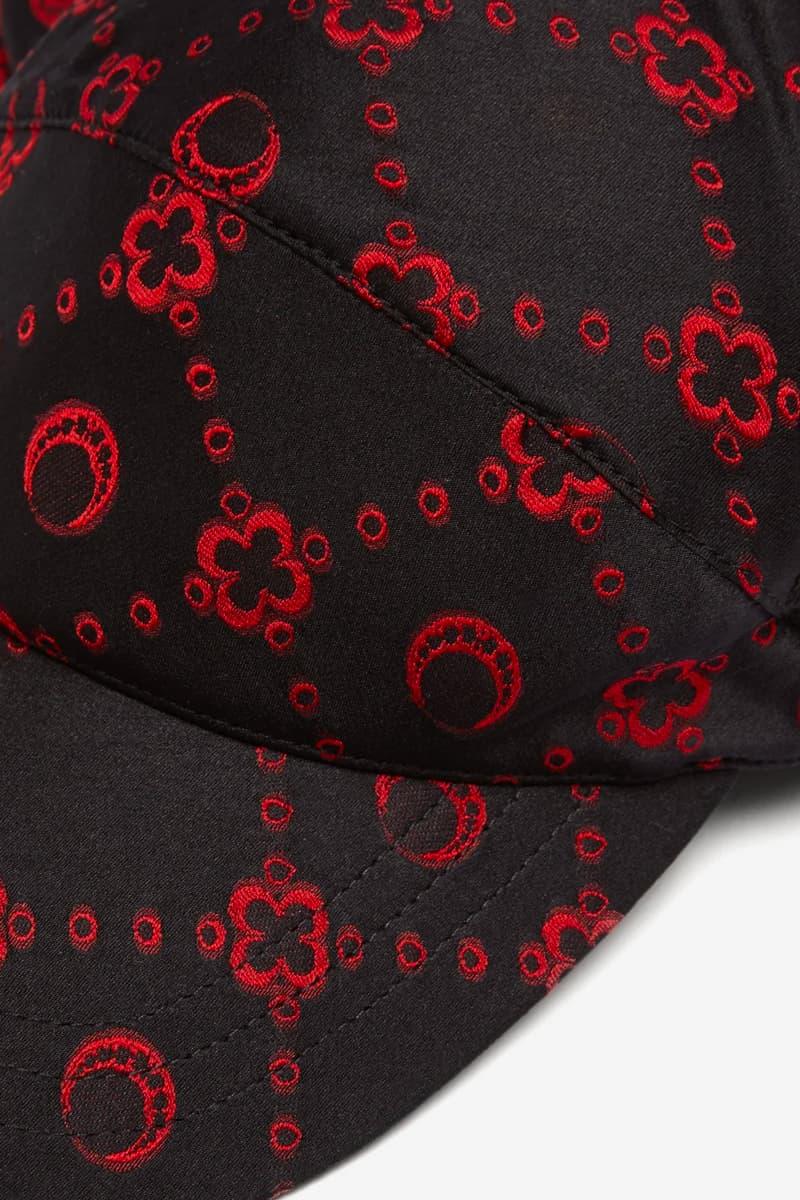 Marine Serre Flou Jacquard Silk-Blend Satin Cap Release Info Buy Price MATCHESFASHION Black Red