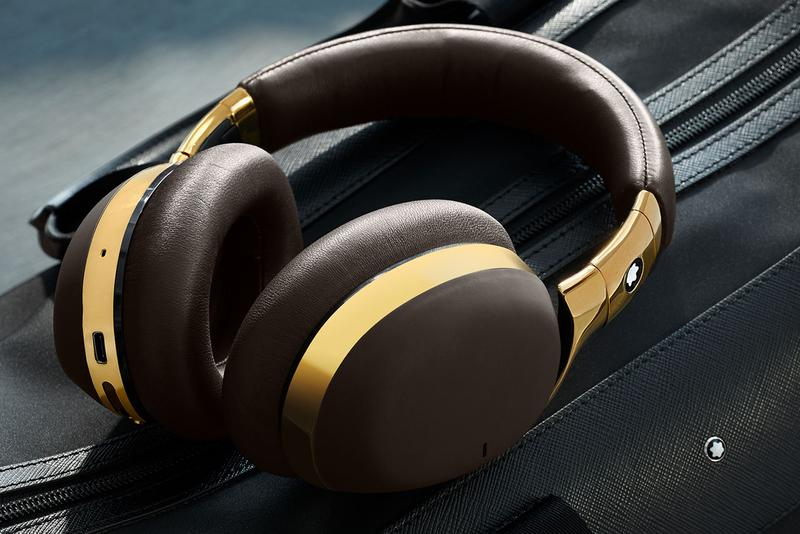 montblanc smart headphones wireless over ear release black leather with chrome metal finishes brown leather with gold colored metal finishes light grey leather