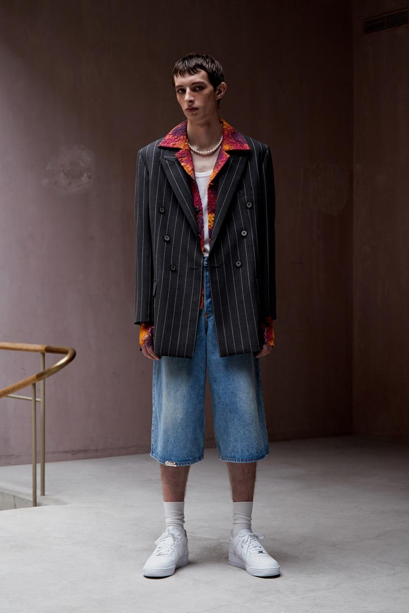 "Necessity Sense Spring/Summer 2020 ""Act of Desire"" Lookbook Collection Jackets Cropped Shirts Blouses Suit Jackets Florals Psychedelic Oil Paintings Peonies Stripes Trousers"