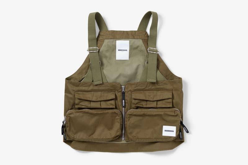 neighborhood pack c vest black beige olive drab cotton twill pack fishing vest motif zipper fly front zippered pockets mesh