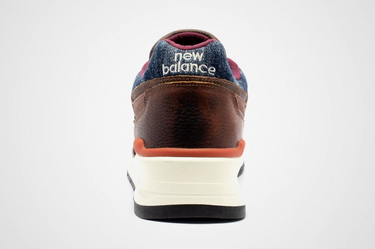 new balance 997 elevated basics made in USA blue denim brown leather release date info photos price patina m997soc