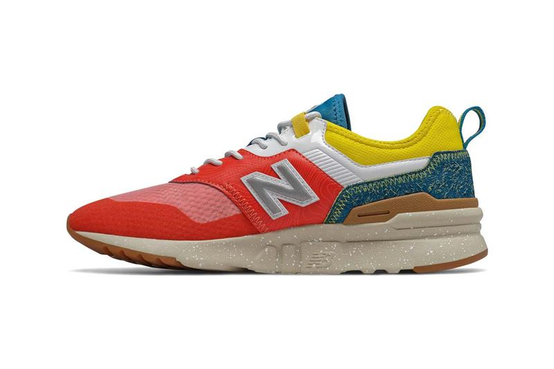 new balance 997h spring hike trail cordura neo flame with classic blue and yellow lightweight trail design hairy suede foxing