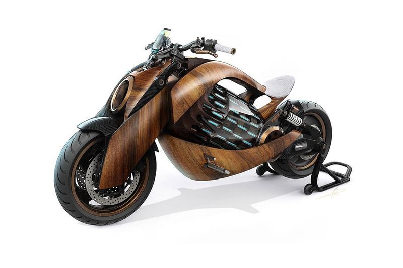 newron motors french france ev 1 motorcycle electric ev wood wooden bike battery motor concept limited edition