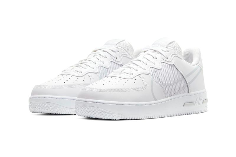 Nike Air Force 1 React D/MS/X white pure platinum release information oversized swoosh cushioning comfort buy cop purchase CT1020-101