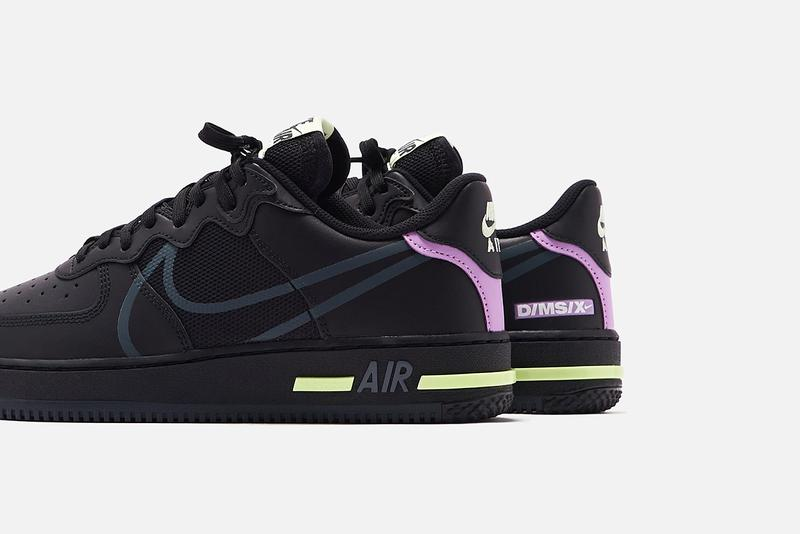 "Nike Air Force 1 React D/MS/X ""Black/Anthracite/Violet Star/Barely Volt"" Release Information First Look Drop Cop Online KITH Store Sneakers Footwear Swoosh All Black Kicks Triple"