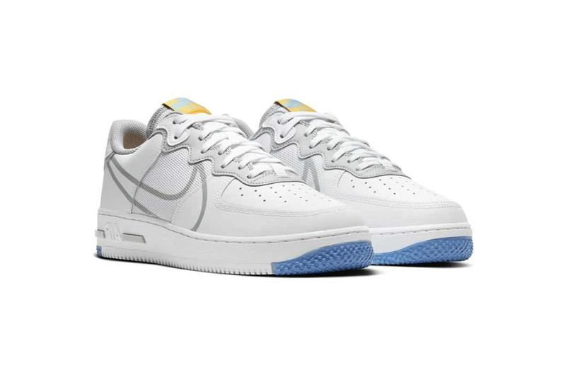Nike Air Force 1 React D MS X White Light Smoke Grey university gold shoes footwear basketball court classics sneakers runners trainers menswear streetwear spring summer 2020 swoosh ct1020-100