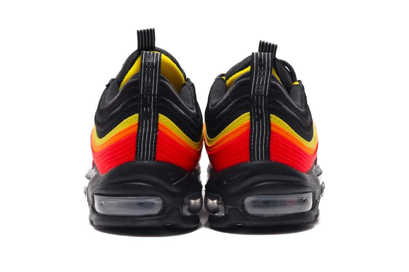 NIKE AIR MAX 97 QS BLACK WHITE CHILE RED MAGMA ORANGE spring summer 2020 collection menswear streetwear ct4525 001 shoes sneakers footwear kicks runners trainers
