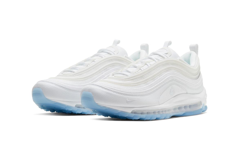 air max 97 white ice on feet