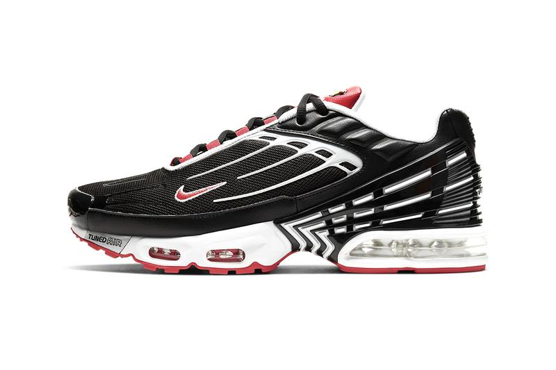 Nike Air Max Plus 3 Black Track Red white menswear streetwear shoes sneakers trainers runners kicks swoosh CJ0601 001 tpu tongue tip spring summer 2020 collection logo