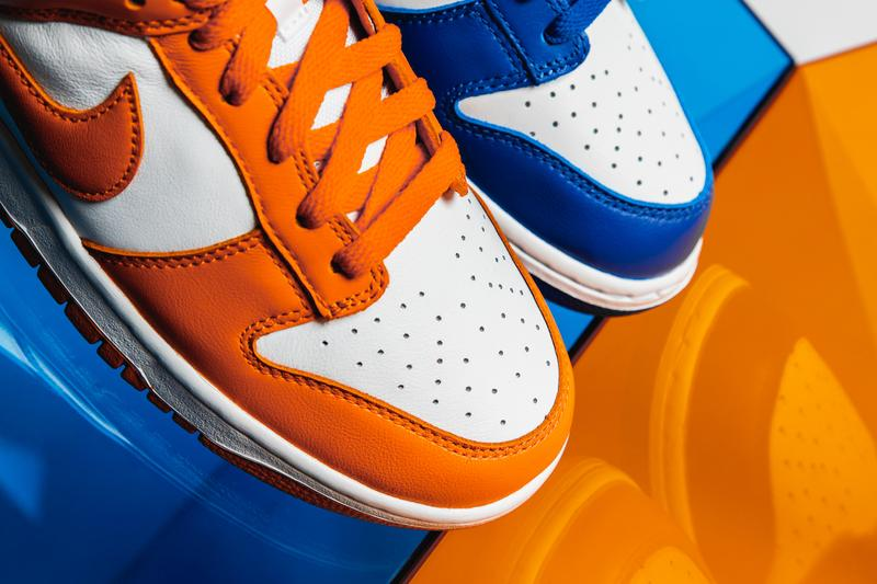 "Nike Dunk Low ""Kentucky"" & ""Syracuse"" Closer Look Official HYPEBEAST Photography Up Close Footwear Sneakers Release Information Editorial Exclusive OG 1985 College Colors program"