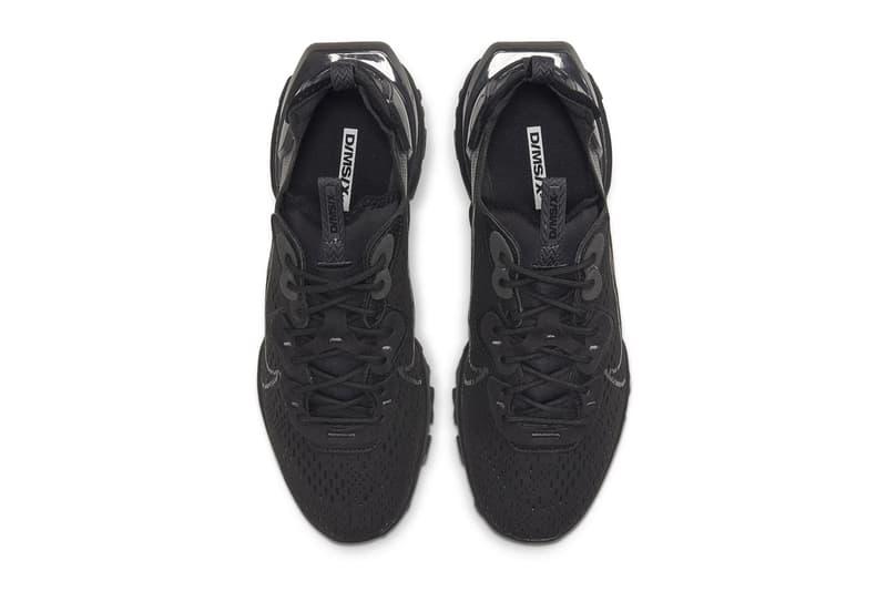 Nike React Vision Black Black Anthracite CD4373 004 menswear streetwear shoes footwear kicks trainers runners lifestyle swoosh spring summer 2020 collection triple black