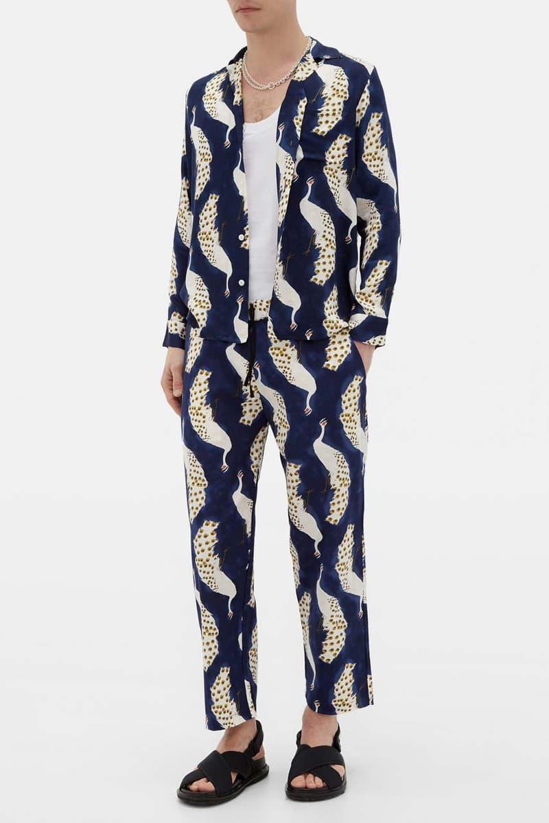 nipoaloha peacock print cotton overshirt cockerel vneck shirt poplin trousers