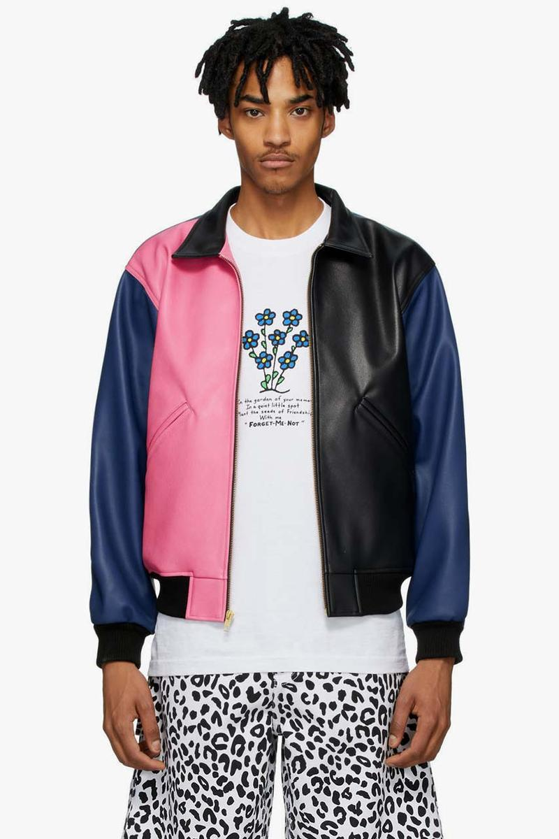 noon goons black pink colorblock jacket release blue panelled grain faux leather ss20 spring summer 2020