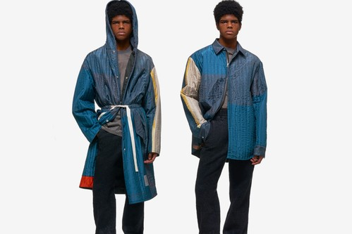 OAMC Crafts Multi-Colored Quilted Hood Coat & Zip-Up Jacket
