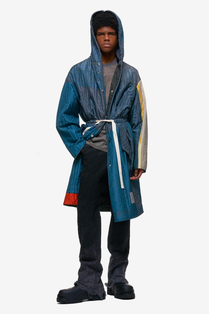 OAMC Quilted Hood Coat Zip Up Jacket multi color panel sheen nylon padded blue multicolor made in italy menswear streetwear spring summer 2020 collection luke meir ss20 tops