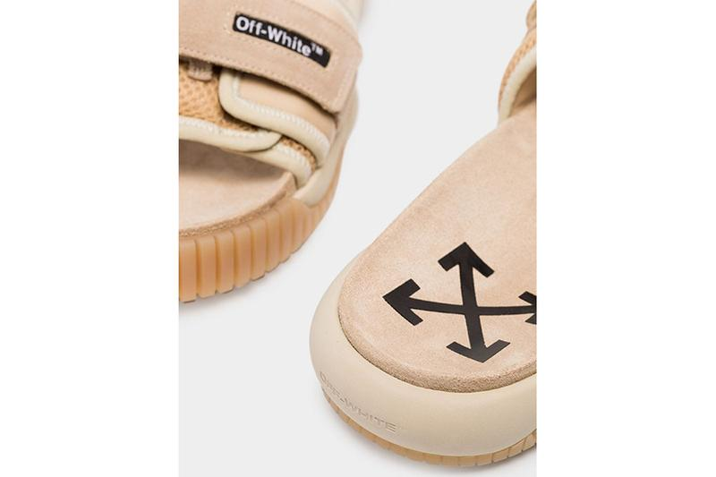 Off-White Beige ODSY Velcro Strap Slides Virgil abloh arrows browns fashion sandals suede ripple sole summer open-toe