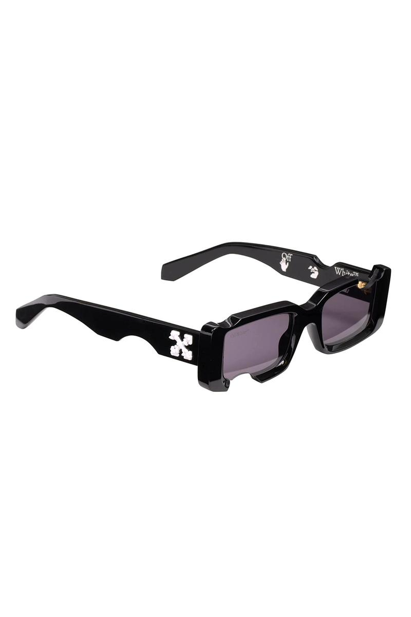 Off-White™ Black Holes Sunglasses Specs Frames Virgil Abloh Designer Affordable Dupe Drilled Hole OW Cross Emblem Logo Black-Grey Lens Eyewear Spring Summer 2020 Looks