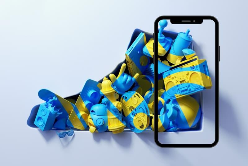 Paper and Fabric Ben Fearnley 'Sneaker Culture' Augmented Art Print ART HOUSE Mobile App Sneaker Headphones Caps Skateboards Blue Yellow