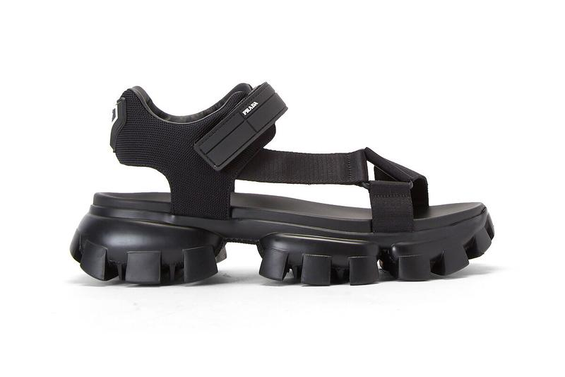 Prada Cloudbust Thunder Sandals Black menswear streetwear luxury high fashion footwear sneakers shoes kicks spring summer 2020 collection made in italy cleated strap on