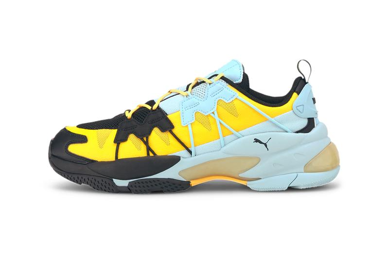 PUMA LQD CELL OMEGA Striped Knit Black Ultra Yellow 371476 06 menswear streetwear footwear shoes sneakers trainers runners spring summer 2020 collection EVA TPE JELL midsole
