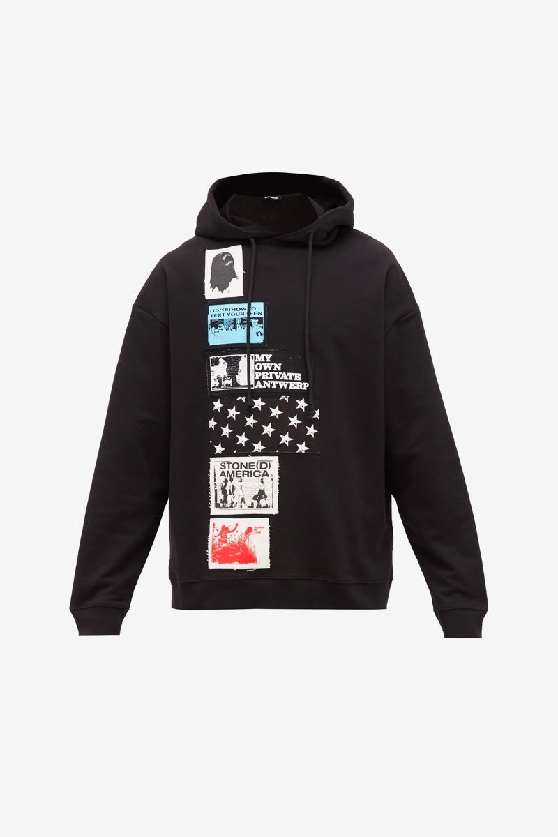 Raf Simons Applique Patch Hoodie menswear streetwear spring summer 2020 ss20 pullovers cotton jersey graphics loopback casual sweater black artwork collage designer drawstrings
