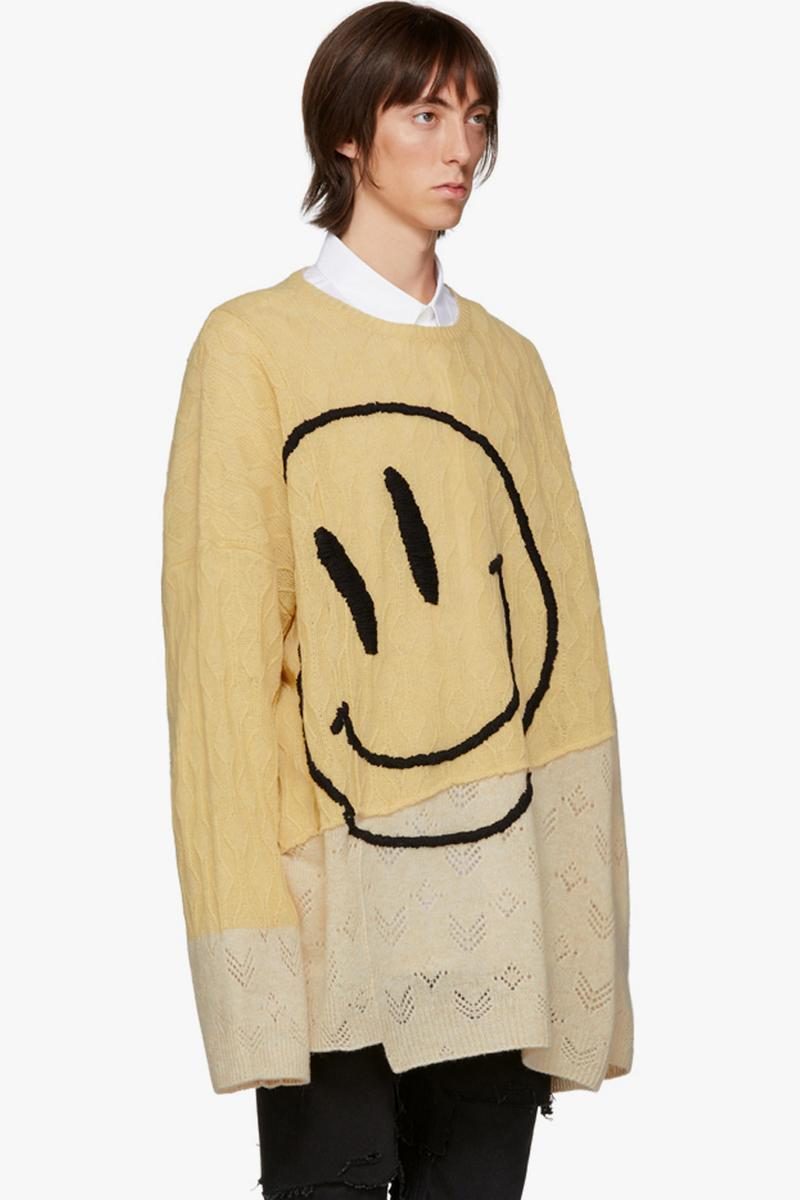 Raf Simons Oversized Collage Smiley Sweater T shirt made in italy merino wool menswear streetwear spring summer 2020 collection capsule knitwear intarsia cartoon motif graphics