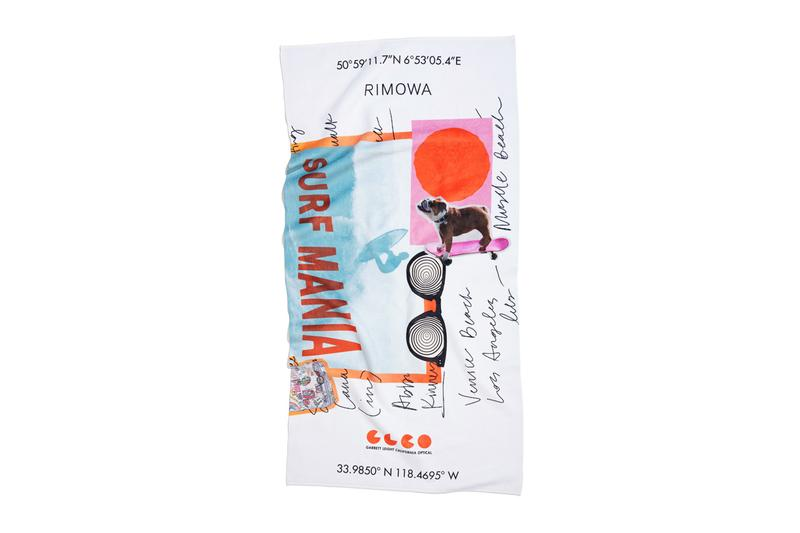 GLCO x RIMOWA Capsule Collection Release Suitcase Luggage Tag Sticker Set Sunglasses Surf Wax Towels California Coast Venice Beach Surf Culture Psychedelic Art