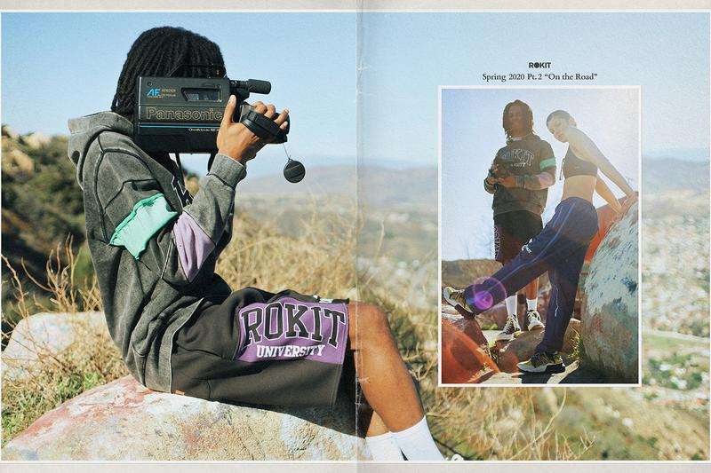 Rokit Spring 2020 Lookbook collection capsule menswear streetwear los angeles graphic tees sweaters hoodies shorts collage layout Nick Joseph on the road print jackets t shirts