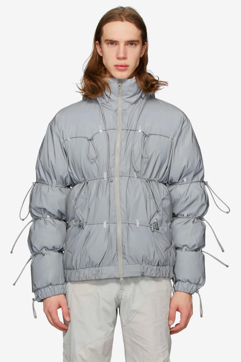 SSENSE Exclusive POST ARCHIVE FACTION Down Reflective String Jacket Release Silver Black Info Buy Price