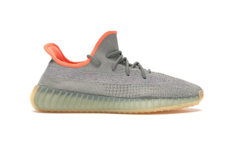 StockX Military-Inspired adidas YEEZY 350 v2 weaved laces contrasting orange sockliner desert sage Primeknit upper tonal side stripe
