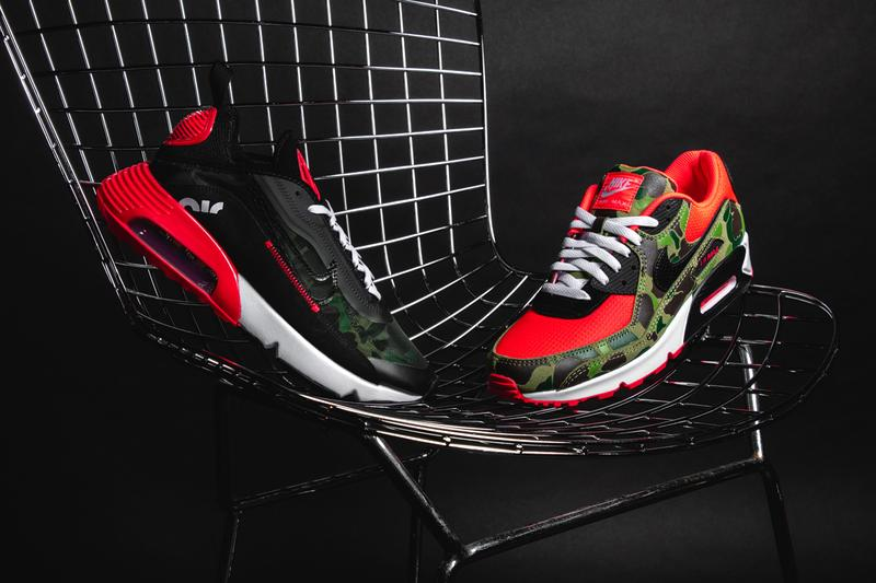 Nike Air Max Tinker Hatfield Air cushioning primary color vibrant red camouflage Nike Air branded heel tab white midsole a black outsole