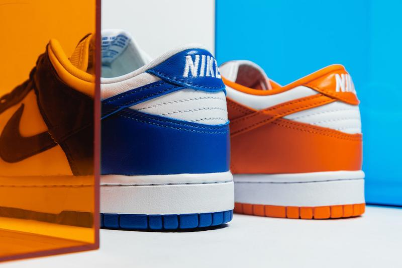 StockX Nike Dunk Low Syracuse and Kentucky Early low-cut makeup doused in a white leather upper with orange blaze royal blue leather overlays