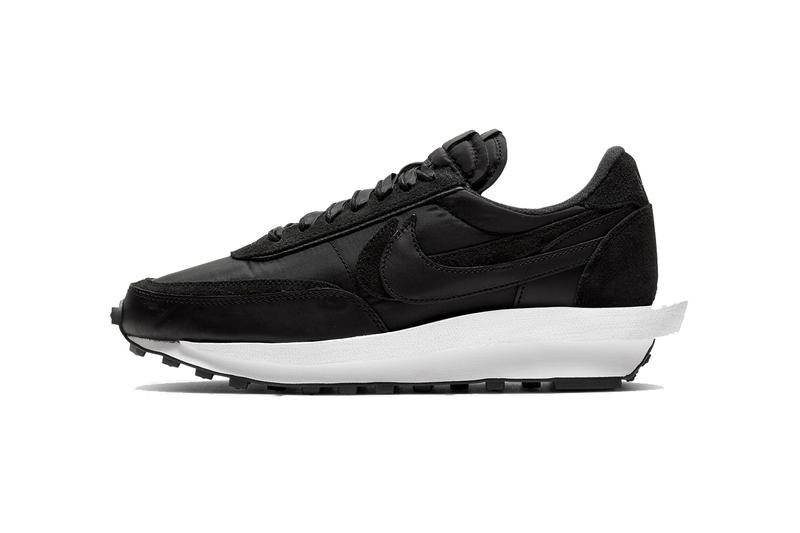 StockX Nike LD Waffle Sacai Nylon Black White Nylon Suede Panels Grey leather stacked tongues NIKE branding tongue tags midfoot Swooshes lipped midsole waffle marked rubber outsole