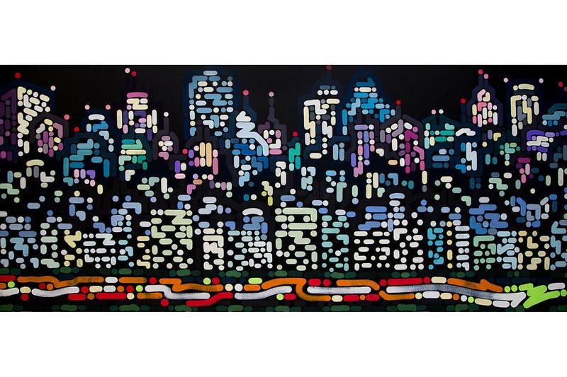"""Yoon Hyup & Aches Dub Exhibits StolenSpace Gallery VR Paintings """"Kaleidoscope"""" """"Silence"""" City Landscape Lights Dots Grid"""