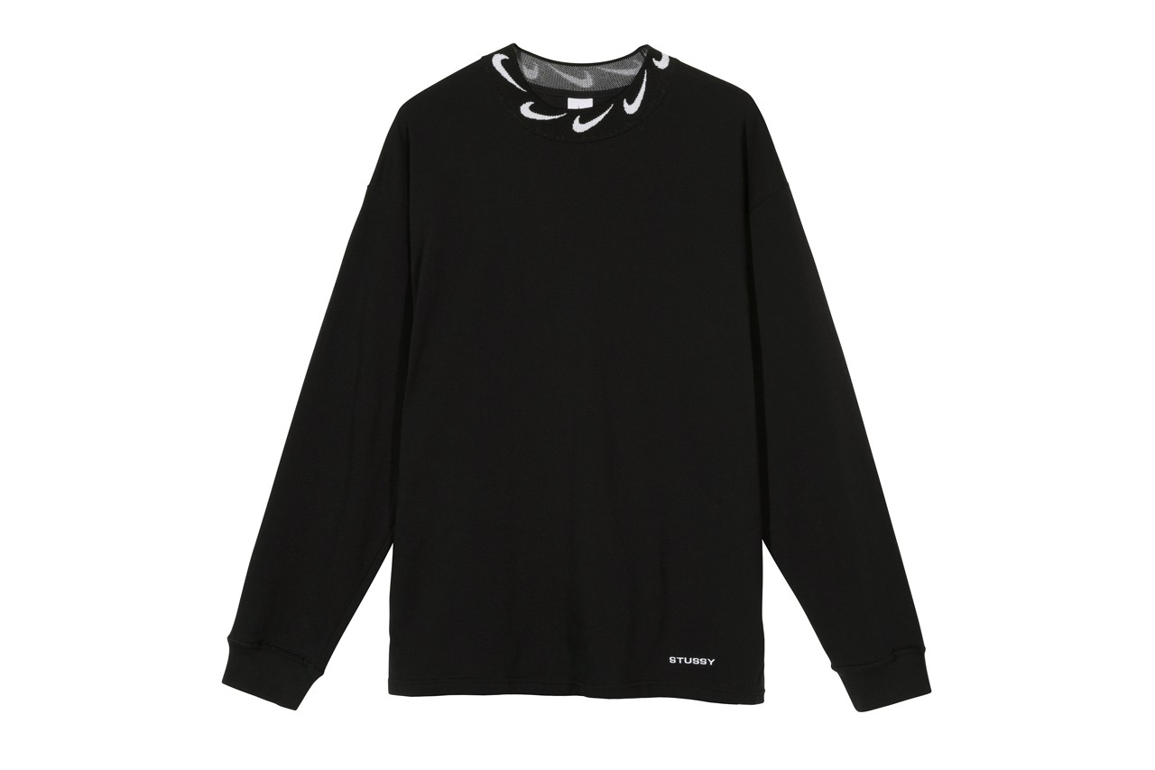 stussy nike air zoon spiridon cage 2 pure platinum black fossil white sweatshirt sweatpants tote bag apparel release date info photos price