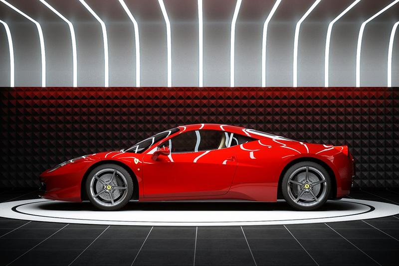 supercar capsule pod design architecture home garage custom showroom private sports car luxury