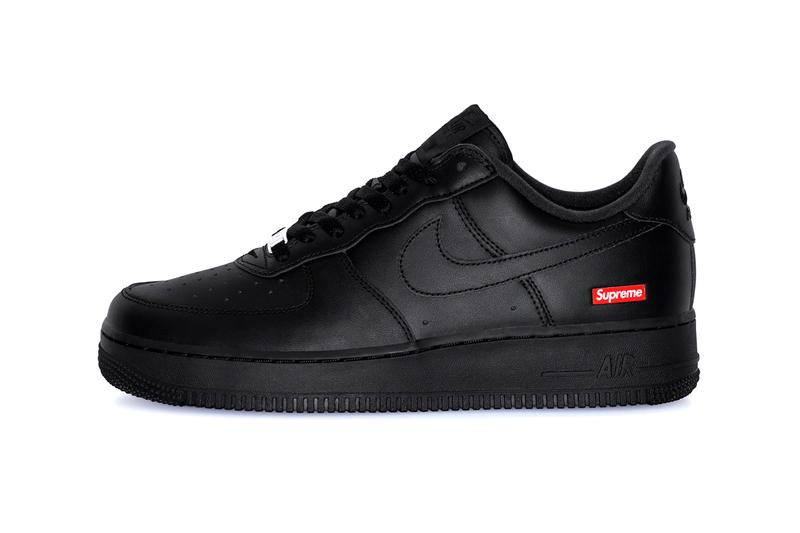 Supreme Nike Air Force 1 Low Collaboration red black box logo neutral 3m laces co-branding collaboration leather