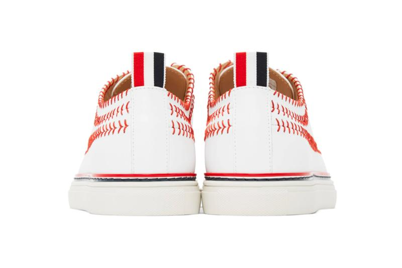 Thom Browne White Longwing Spectator Baseball Brogue Sneakers footwear shoes trainers dress shoes sartorial menswear streetwear stitching red tri color logo spring summer 2020
