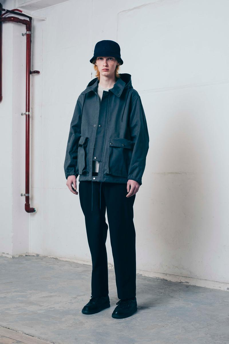 Tone Fall/Winter 2020 Lookbook Collection Knitwear Sweaters Outerwear Flight Jackets Military Coat Vests Trousers Wool Work Pants Striped Shirt Beanies Field Hats