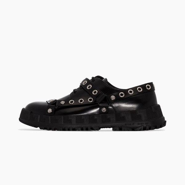 Versace Black BDSM Straps Leather Derby Shoes