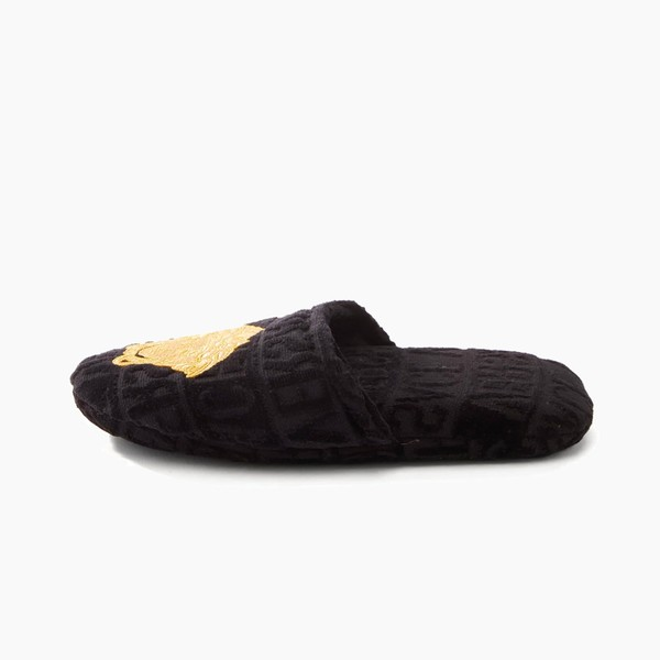 Versace Medusa-Embroidered Logo-Velvet Slippers