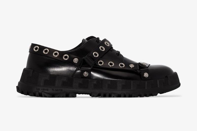 Versace Black BDSM Straps Leather Derby Shoes Drop Submits Dominates Studs Browns Fashion punk rock fetish
