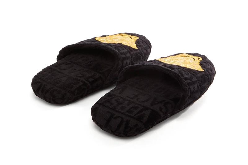 Versace Medusa-Embroidered Logo-Velvet Slippers Release Info Black Gold Buy Price