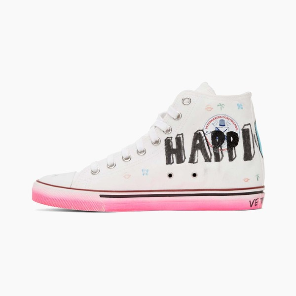"""Vetements White """"Hardcore Happiness"""" High-Top Sneakers"""